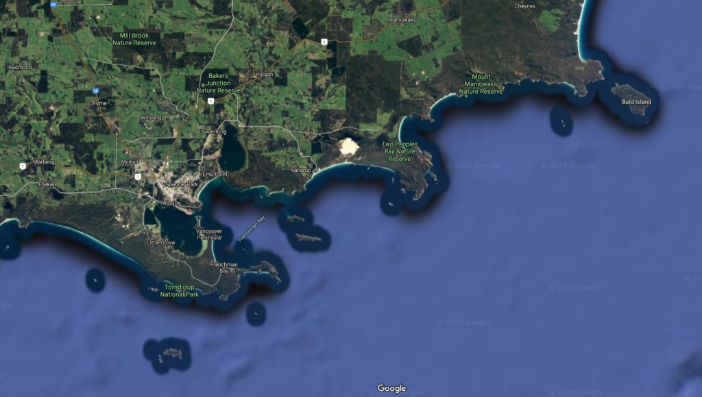 Two Peoples Bay Satellite Map