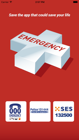 Emergency+ app screen